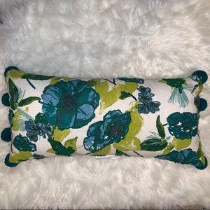 Opalhouse Teal Yellow Floral Pom Lumbar Pillow